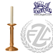 Altar Candlestick with round base and column choose from brass or bronze with satin or high polish finish in choice of 10 heights includes socket and protector made in u s a by progressive bronze PB240CS