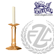 Altar Candlestick with hexagonal base and column choose from brass or bronze with satin or high polish finish in choice of ten sizes includes socket and protector made in u s a by progressive bronze PB242CS