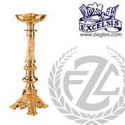 ornate Altar Candlestick choose from brass or bronze with high polish finish choose from 10 sizes includes socket and protector made in u s a by progressive bronze PB389CS