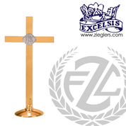 altar cross with IHS at center in choice of brass or silver with high polish or satin finish choose from 4 sizes made in u s a by progressive bronze PB216108AC