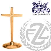 Altar Cross   2 Sizes   Brass or Bronze  Round Base   Modern   216109A   216109B   USA