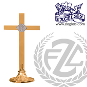 altar cross with IHS emblem in choice of brass or bronze with high polish or satin finish choose from 4 sizes made in u s a by progressive bronze PB232108AC