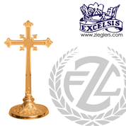 flared altar cross with embellished base in choice of brass or bronze with high polish or satin finish choose from 3 sizes made in u s a by progressive bronze PB232109AC