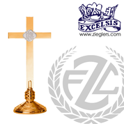 IHS altar cross with embellished base in choice of brass or bronze with high polish or satin finish choose from 3 sizes made in u s a by progressive bronze PB240108AC