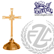 contemporary style altar cross with embellished base in choice of brass or bronze with high polish or satin finish choose from 3 sizes made in u s a by progressive bronze PB240109AC