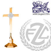 contemporary style altar cross with embellished base in choice of brass or bronze with high polish or satin finish choose from 4 sizes made in u s a by progressive bronze PB242108AC