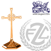 contemporary style altar cross with embellished base in choice of brass or bronze with high polish or satin finish choose from 3 sizes made in u s a by progressive bronze PB242109AC