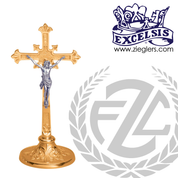 budded cross crucifix with round base in choice of brass or bronze with high polish or satin finish choose from 2 sizes made in u s a by progressive bronze PB232133AC