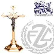 crucifix with hexagonal base and cross with budded ends in choice of brass or bronze with high polish or satin finish choose from 3 sizes made in u s a by progressive bronze PB245133AC
