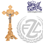 Altar crucifix in choice of 2 sizes in brass or bronze with high  polish finish has budded cross and footed base with ornate designs made in u s a by progressive bronze PB38925AC