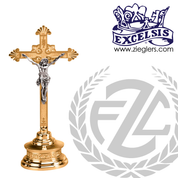 Altar Crucifix with round base and budded cross available in brass or bronze with choice of satin or high polish finish in 2 sizes made in u s a from pacific bronze PB401133AC