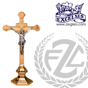 Altar Crucifix with hexagonal base available in brass or bronze with choice of satin or high polish finish in 2 sizes made in u s a from pacific bronze PB434133AC