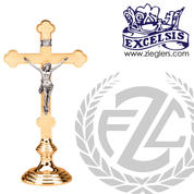 Altar Crucifix with round base and budded cross available in brass or bronze with choice of satin or high polish finish in 3 sizes made in u s a from pacific bronze PB44425AC
