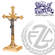 Altar Crucifix | 3 Sizes | Brass or Bronze | Square Base | Budded Cross | 5371133 | USA