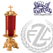 Altar Sanctuary Lamp made of brass or bronze with round base measuring 6 inches high and 7 inches  in diameter made in u s a by pacific bronze PB38947SL