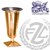 Altar vase with square base in choice of brass or bronze and high polish or satin finish in 4 sizes comes with removable aluminum liner made in u s a by pacific bronze PB20058AV