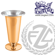 Altar vase with round base in choice of brass or bronze and high polish or satin finish in choice 4 sizes comes with removable aluminum liner made in u s a by pacific bronze PB21658AV