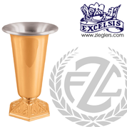 Altar Vase | 4 Sizes | Bronze or Brass | Hexagonal Base With Leaf Design | 24258 | USA
