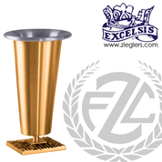 Altar vase with square base in choice of brass or bronze with satin finish in choice of 3 sizes comes with removable liner made in u s a by pacific bronze PB394118AV