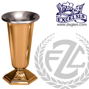 Altar vase with hexagonal base in choice of brass or bronze with satin finish in choice of 4 sizes comes with removable liner made in u s a by pacific bronze PB43458AV