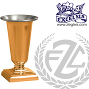 Altar vase with a square base in choice of brass or bronze with satin or high polish finish in choice of 4 sizes comes with removable liner made in u s a by pacific bronze PB53758AV