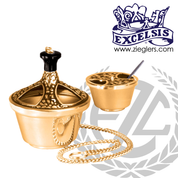 Thurible & Incense Boat | Bronze or Brass | Single Chain | Round Base | 1101123 | USA