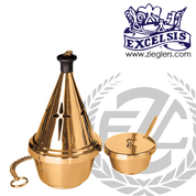 Thurible and Incense Boat  with lid and spoon in Bronze or Brass with high polish or satin finish has Single Chain and Round Base made in u s a by progressive bronze PB1104123