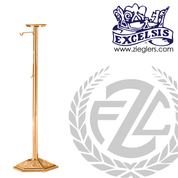 Thurible Stand in Bronze or Brass with 1 Shelf and 2 Hooks stands 53 inches high with 9 and 1 half inch Round Base made in u s a by progressive bronze PB24278