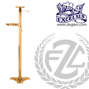 Thurible Stand in Bronze or Brass with 2 shelves and 2 hooks stands 51 inches high with round  Base made in u s a by progressive bronze PB499278