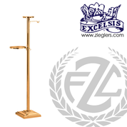 Thurible Stand in Bronze or Brass with 2 shelves and 2 hooks stands 53 inches high with square  Base made in u s a by progressive bronze PB536278