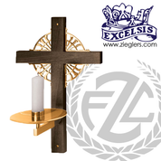 Consecration Candleholder made of brass or bronze with high polish or satin finish backplate with wood cross measures 12 by 20 inches made in u s a by progressive bronze PB4501214