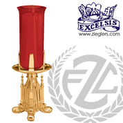 electric Altar Sanctuary lamp with ornate base in choice of bronze or brass with high polish comes with red glass and cord made in u s a by progressive bronze PB49947EL