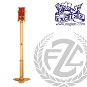 electric sanctuary lamp in brass or bronze with high polish or satin finish and red glass stands 54 inches tall made in u s a by pacific bronze PB499249EL