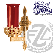 "Sanctuary Wall Lamp 9"" x 15"" Brass or Bronze Ornate Cross Backplate 389168 USA"