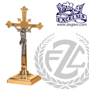 Altar Crucifix with textured cross and budded ends in brass or bronze with satin or high polish finish 3 Sizes on square base Brass or Bronze Square Base made in u s a by pacific bronze PB536133AC