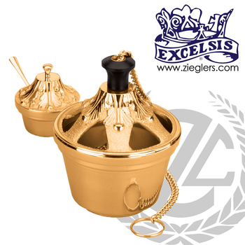 Thurible-and-lidded-Incense-Boat-made-of-Bronze-or-Brass-in-high-polish-finish-outfitted-with-single-chain-ash-catcher-and-spoon-made-in-u-s-a-by-progressive-bronze-in-u-s-a