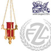 Hanging sanctuary lamp in brass or bronze with satin or high polish finish includes 21 inch chains glass sold separately made in u s a by progressive Bronze PB111350H