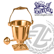 Aspersorium with embellished square base in brass or bronze with satin or high polish finish includes removable liner and aspergillum made in u s a by progressive Bronze PB20029