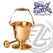 Aspersorium with round base in brass or bronze with satin or high polish finish includes removable liner and aspergillum made in u s a by progressive Bronze PB21629
