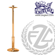 Paschal candlestick available in 2 sizes in brass or bronze with satin or high polish finish comes with 2 inch socket made in u s a by progressive Bronze PB21617PC