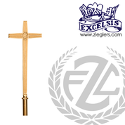 19 inch Processional Cross in brass or bronze with satin or high polish finish with 54 inch staff and sleeve cover in u s a by progressive Bronze PB216117