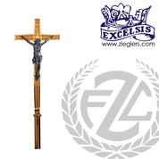 Processional Cross in brass or bronze with satin or high polish finish stands 77 inches high and has vinyl cover on staff made in u s a by progressive Bronze PB216271