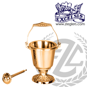 Aspersorium with embellished round base in brass or bronze with satin or high polish finish includes removable liner and aspergillum made in u s a by progressive Bronze PB23229