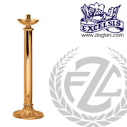 Paschal candlestick available in 2 sizes in brass or bronze with satin or high polish finish comes with 2 inch socket made in u s a by progressive Bronze PB23217PC
