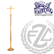 Processional Cross in brass or bronze with satin or high polish finish stands 92 inches with vinyl cover made in u s a by progressive Bronze PB232210