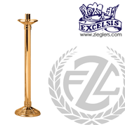 Paschal candlestick available in 2 sizes in brass or bronze with satin or high polish finish comes with 2 inch socket made in u s a by progressive Bronze PB24017PC