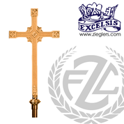 Processional Cross in brass or bronze with satin or high polish finish 20 inch height with 54 inch staff and vinyl cover made in u s a by progressive Bronze PB240117