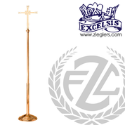 Processional Cross in brass or bronze with satin or high polish finish 20 inch cross total height 92 inches staff has protective vinyl cover made in u s a by progressive Bronze PB240210