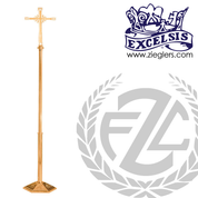 Processional Cross in brass or bronze with satin or high polish finish Stands 92 inches tall made in u s a by progressive Bronze PB242210