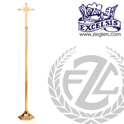 Processional Cross in brass or bronze with satin or high polish finish in stands 92 inches tall made in u s a by progressive Bronze PB245210